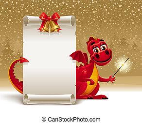 navidad, vector, -, saludo, ilustración, dragón, papel, ...