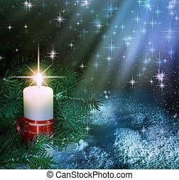 navidad, vela, composición