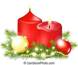 navidad, vela, rojo