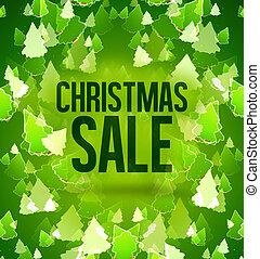 navidad, venta, árboles verdes, plano de fondo, diseño