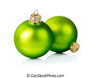 navidad, verde, decoraciones, aislado, blanco, plano de fondo