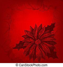 navidad, winterberry, text., ilustración, mano, lugar, ...