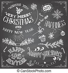 navidad, y, año nuevo, elementos, conjunto