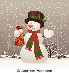 navidad, y, new-year's, snowman