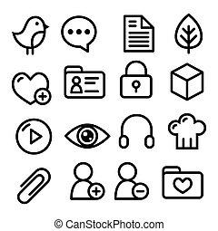 navigáció, ikonok, website, étrend, egyenes