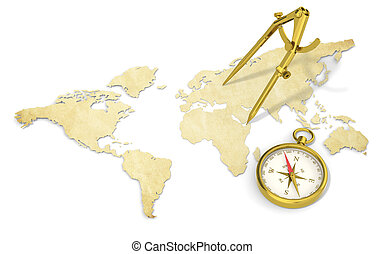 A World Map in 3D. Paper Shape, thin and Antique style. Brass Divider and Compass.