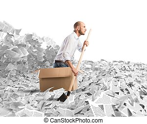 Navigate the bureaucracy - Man paddling in a sea of sheets