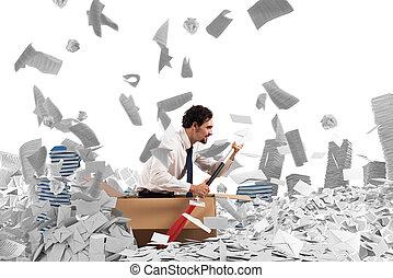 Navigate the bureaucracy - Concept of bureaucracy with man...