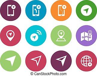 navigateur, cercle, icônes, blanc, arrière-plan.