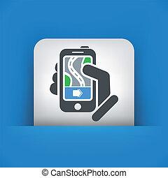 navigateur, concept, smartphone, route