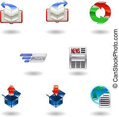 navigateur, internet, ensemble, icône, brillant