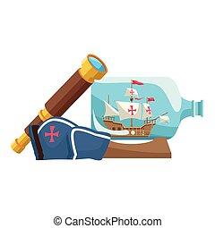 navigatie, hoedje, marinier, scheeps , gebotteld, telescoop