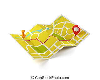 navigatie, kaart, met, gids, lijn