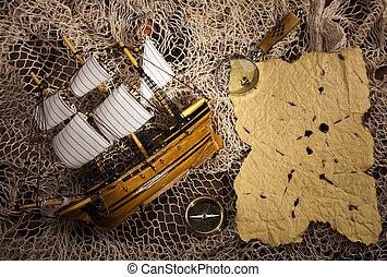 navigatie, ouderwetse , uitrusting, compas