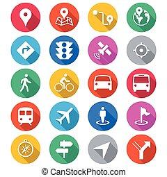 navigatie, plat, kleur, iconen