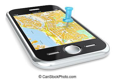 navigatie, via, telefoon., smart