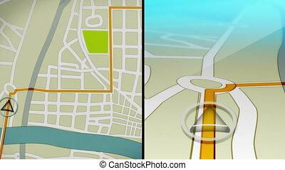 navigatiesysteem, demo, animatie