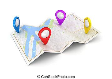 navigatiesysteem, satellietnavigatie, concept