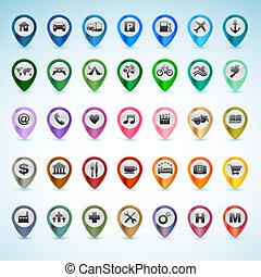 navigatiesysteem, set, iconen
