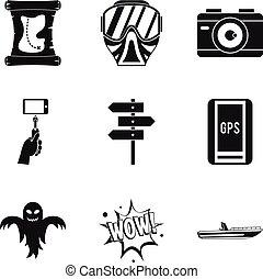 navigatiesysteem, tracking, iconen, set, eenvoudig, stijl