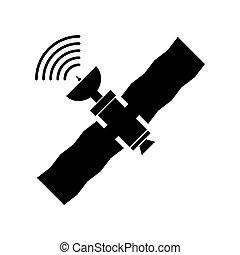 navigatiesysteem, vector, illustratie, satelliet