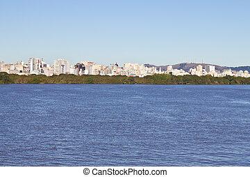 Navigating at guaiba lake - Porto Alegre - rio Grande do Sul...