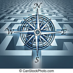Navigating through challenges represented by a labyrinth...