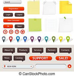 navigation, éléments, site web, gps