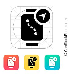 Navigation and GPS in smart watch icon. Vector illustration.