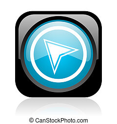navigation black and blue square web glossy icon