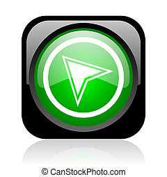 navigation black and green square web glossy icon