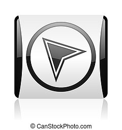 navigation black and white square web glossy icon