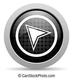 navigation black circle web glossy icon