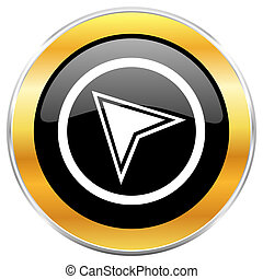 Navigation black web icon with golden border isolated on white background. Round glossy button.