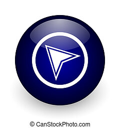 Navigation blue glossy ball web icon on white background. Round 3d render button.