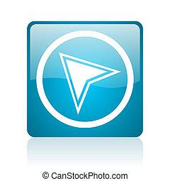navigation blue square web glossy icon