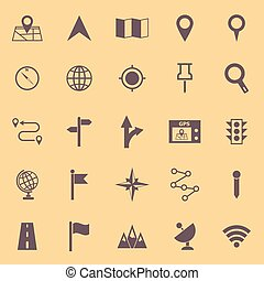 Navigation color icons on yellow background