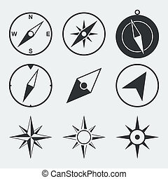 Navigation compass flat icons set isolated vector ...