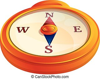Navigation compass icon, cartoon style