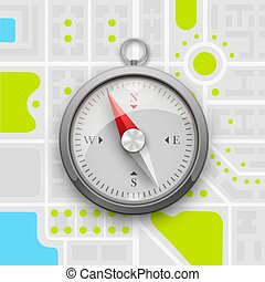 Navigation compass on the city map. Vector illustration
