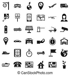 Navigation complex icons set, simple style - Navigation...