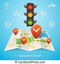 Navigation Concept Card or Poster. Vector