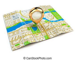 navigation, concept., gps, carte, de, ville, et, doré, pin.