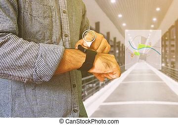 navigation, concept., les, carte, sur, a, intelligent, watch.