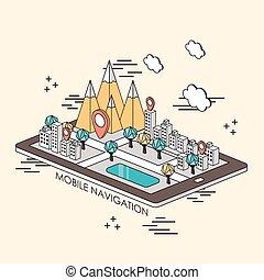 navigation, concept, mobile