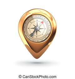 Navigation concept. Pin with compass isolated on white.