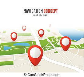 Navigation Concept Road City Map. Vector