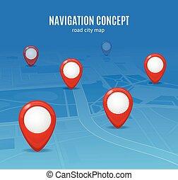 Navigation Concept Road City Map. Vector