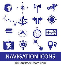 navigation, ensemble, eps10, icônes