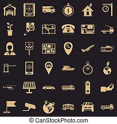 Navigation equipment icons set, simple style - Navigation...